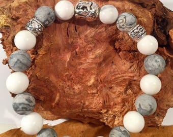 Grey marble beaded bracelet