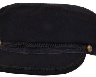 Fiddler cap, Greek fisherman cap black wool