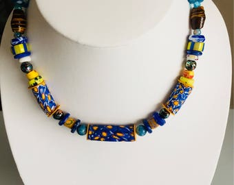 Colored blue millefiori necklace