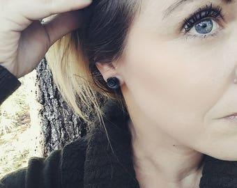 Petite Rose Petal Earrings in black