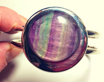 flourite rainbow bangle,25mm flourite,flourite bracelet,cuff bangle,cuff bracelet,flourite bracelet,mod bangle,retro bangle,flourite,boho