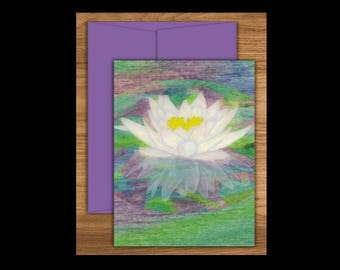 Water Lily Greeting Card, Floral Cards, Blank Greeting Cards, Blank Cards, Blank Notecards, Water Lily, Floral Card, Flower Cards, notecards
