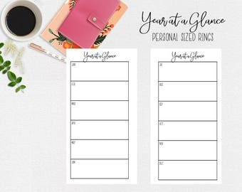 Year at a Glance Planner Pages for Personal Sized Ring Planner