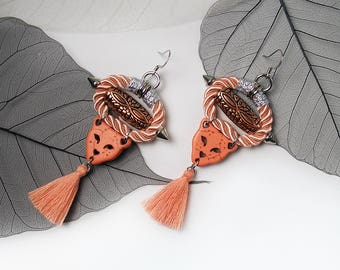 PANTHER Statement Cord Tassel Ethnic Salmon Earrings Stone Copper Bead