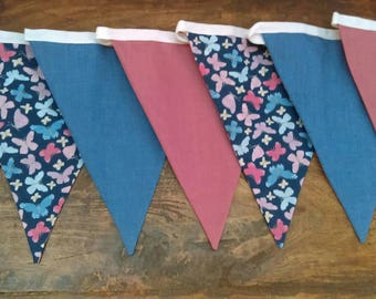 Pink and blue butterfly bunting