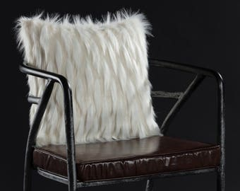 Faux Fur Pillow Cover - White, Long Pile Faux Fur Pillow Cover, Long Hair Faux Fur Pillow Cover