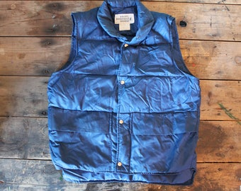 Vintage 70's Navy Blue Ski Vest | Camping Vest | Size Small
