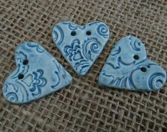 Set of Three handmade ceramic heart shaped buttons./Craft buttons/Bespoke buttons/Crochet/Knitting/Scrapbooking/Sewing/Fashion.