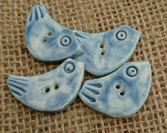 Set of Four Quirky Handmade Ceramic Bird shaped Buttons/Craft Buttons/Bespoke Buttons/Crochet/Knitting/Sewing/Fashion/Haberdashery.