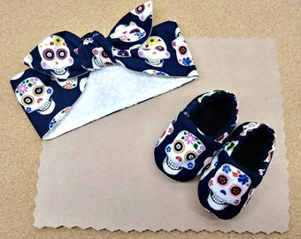 Sugar Skull baby shoes- baby booties- baby slippers- toddler shoes- toddler booties- newborn shoes- new baby- shower gift- headwrap-headband