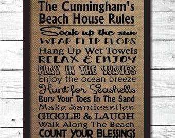 personalized beach house rules, beach house rules sign, beach house rules print, beach house wall art, beach housewarming gift, B6