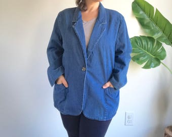 Vintage Denim Plus Size Blazer Jacket Size 1X