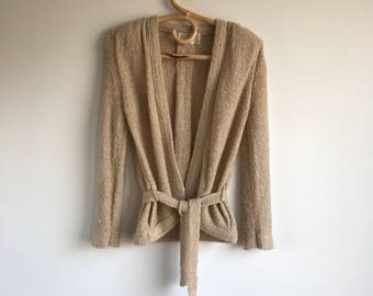 Vintage Brown Belted Cardigan Sweater Size Small