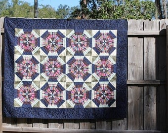 Blue Plaid Pinwheel Quilt