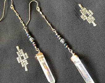 Angel aura quartz point earrings // dangly quartz earrings // angel aura quartz earrings // boho earrings // bohemian earrings // boho