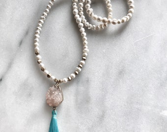 Freshwater pearl necklace with peach druzy pendant and turquoise tassel
