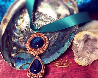 Victorian turquoise and copper pendant