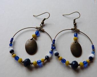 Large hoop earrings with bronze sequin