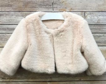 Faux Fur Flower Girl Jacket Coat Capelet Faux Fur Bolero Wedding Jacket Shrug cover up