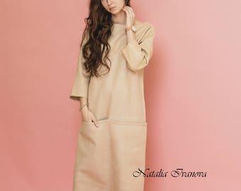 Eco-fashion, Beige Dress, wool dress,midi, winter dress, elegant dress, Felted dress, Fall clothing, Long sleeve, Warm Dress, Soul