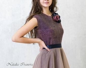 Валяное платье, Женские платья, Felted dress, Eco-fashion,Платье, elegant dress, Felted dress, Fall clothing, Long sleeve, Warm Dress, Soul