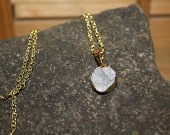 Gray Druzy Gold Necklace