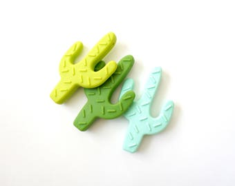 3 pack / cactus teething toy / BPA free / food grade silicone / teether for baby / green mint lime