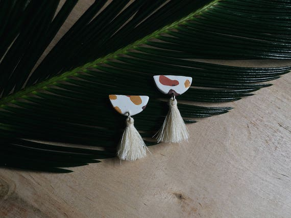 Mini Cream Tassel Earrings