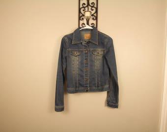 Boxy studded western denim jacket