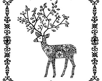 card - black and white - deer