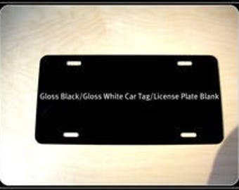 100 pcs. .024 Gloss Black / Gloss White Aluminum License Plates/Car Tags