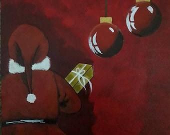 Acrylic painting of Secret Santa On Canvas
