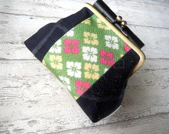 Gamaguchi Purse with Japanese Kimono fabric, Size Medium, Green