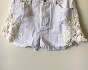 White Crochet Skorts
