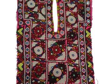 Banjara Vintage Cotton Embroidered Mirror Work Yoke Neck Fabric Tribal Gypsy Craft Sewing