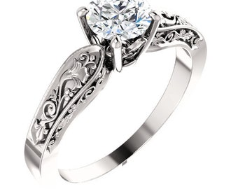 14k White Lab Grown Diamond Floral-Inspired Solitaire Engagement Ring