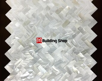 Herringbone Groutless Mother of pearl tiles backsplash sea shell mosaic MOP124 white shell mosaic bathroom wall tiles kitchen tile