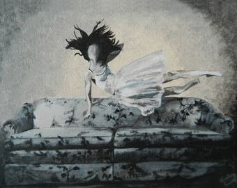 Girl on Couch, Print of Original Acrylic Painting