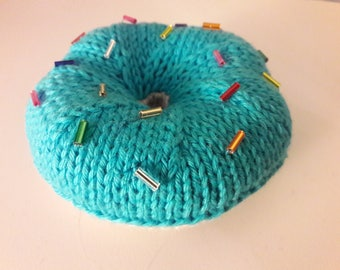 Knitted donut with sprinkles-blue-colorful-knitted donut, blue with sparkles