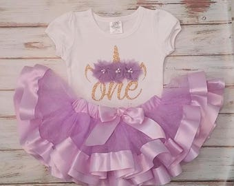Lavender and Gold Unicorn 1st or 2nd Birthday 3d Shirt and Ribbon Tutu Birthday Outfit
