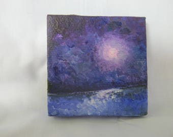 """Moon over Lake, ORIGINAL Miniature  (2"""" x 2"""") acrylic painting on canvas, Easel Included, Moonscape, full moon, night on lake,"""
