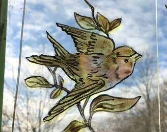 Stained Glass Bird Centre Pane - Traditional hand painted, Kiln fired centre part for panel / window, vintage style, design, Victorian