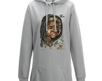 Ladies Hooded Sweatshirt with Michonne Caricature.