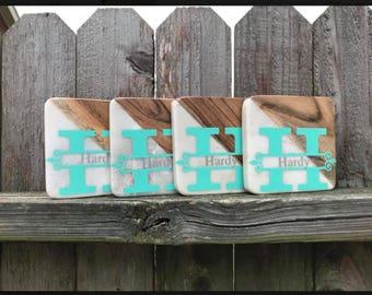 Custom Monogrammed Coasters