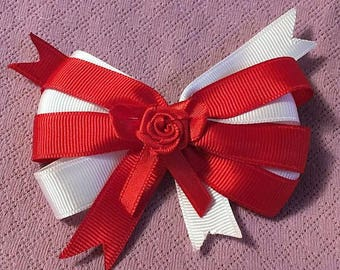Boutique Bow, Stacked Boutique, Fancy Bow, Red Barrette, Easter Bow, girls barrette, layered over the top, Red and White, Rose Center, 4.5""