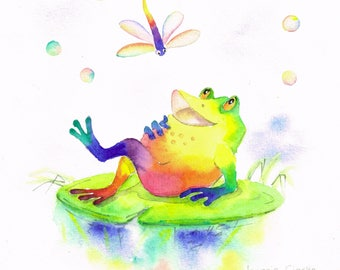 Frog -  watercolour painting - original animal painting