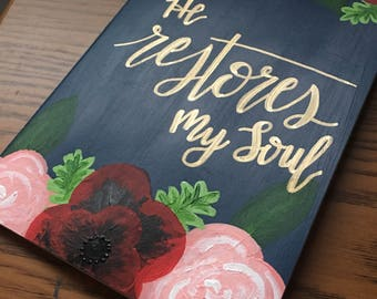 """Ready-to-ship """"He Restores My Soul"""" Painted Journal - Moleskine Journal - Painted Notebook"""