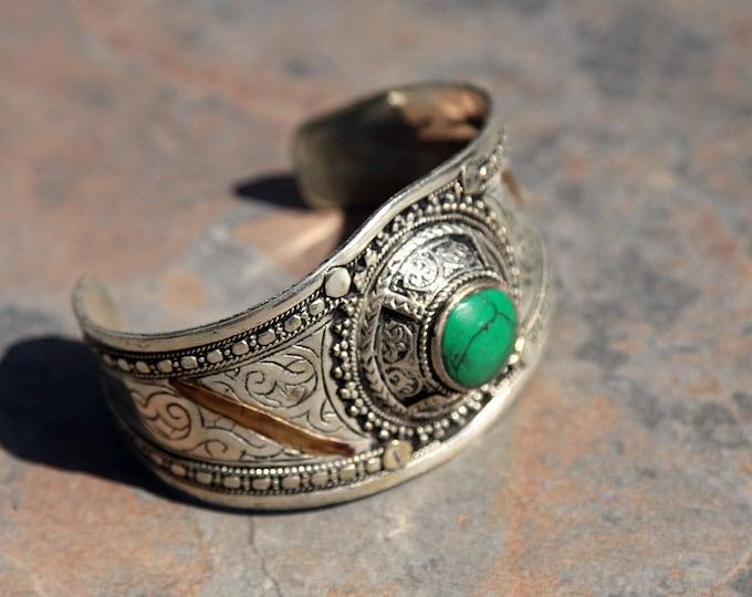 BRACELET (1pc) Turkoman Tribal Real MALACHITE Gold Plated BellyDance 501c6