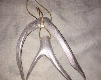 Silver Mule Deer Antler Shed Pair (2) Ornament Decor