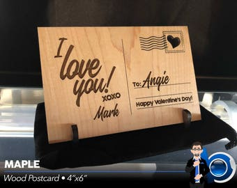 """Wood """"I Love You!"""" Postcard (4""""x6"""" Maple or Cherry)"""